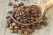 Coffee Beans With Wooden Spoon On Wood Background
