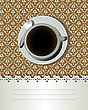 Coffee Cup And Text Label, Decorative Card For Bar, Bistro.