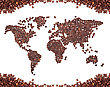 Coffee Map Made Of Beans stock photography