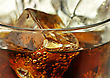 Cola With Ice Cubes Close Up
