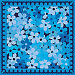 Cold Blue Flowers Card stock illustration