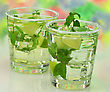 Cold Drinks With Peppermint And Lime stock photography