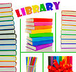 Collage Of Colorful Books' Stacks stock photo