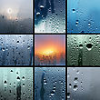 Collage From Photos Of Water Drop On Glass stock photography
