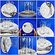 Collage Of Glasses, Plates, Covers On Blue Background stock image