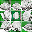 Collage Of Glasses, Plates, Covers On Green Background stock photography