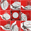 Collage Of Glasses, Plates, Covers On Red Background stock image