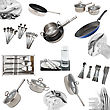 Collage Of Glasses, Plates, Dishware, Utensil,pans. Isolated stock photo