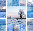 Collage Of Ice Patterns On Glass And Winter Landscape With Tree stock image