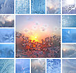 Collage Of Ice Patterns On Winter Glass stock photo