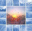 Collage Of Ice Patterns On Winter Glass stock image