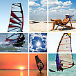 Collage Of Images On A Summer Sports Theme. Surfing stock photography