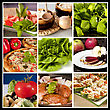 Collage Of Nine Different Food Types In The Same Picture stock photography