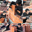 Collage Of A Bricklayer stock photo