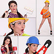 Collage Of A Female Construction Worker stock image