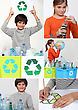 Collage Of Children Recycling stock image