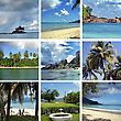 Visit Collage Of Images Of Seychelles stock photography