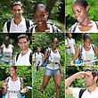 Collage Of Man And Woman Hiking