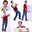 Easygoing Collage Of A Man Carrying Wallpaper Rolls stock photo