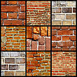 Collage Of Various Brick Walls stock photography
