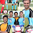 Collage Of Young Men Football Players stock image