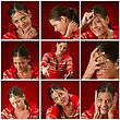 Collage Of A Young Woman Making Faces stock photo