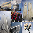 Collage Of Seven Different Buildings In Montreal City Quebec Canada stock photography