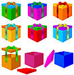 Collection Of Colorful Box Christmas Gifts With Bow. Vector Illustration