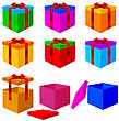 Collection Of Colorful Box Christmas Gifts With Ribbons. Vector Illustration