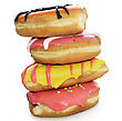Collection Of Colorful Donuts On White Background stock photo