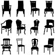 Collection Of Different Chairs Silhouettes. Vector Illustration.