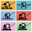 Collection Flat Icons With Long Shadow. Agricultural Vehicles Harvesting Combine Symbols. Vector Illustration
