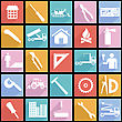 Collection Flat Icons With Long Shadow. Construction Symbols. Vector Illustration