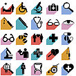 Collection Flat Icons With Long Shadow. Medicine Symbols. Vector Illustration