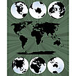 Collection Of Globes In Various Views And World Map