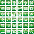 Collection Of Green Internet Icons With Glares stock vector