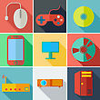 Collection Modern Flat Icons Computer Mobile Technology With Long Shadow Effect For Design. Vector Illustration