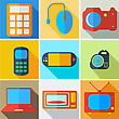 Collection Modern Flat Icons Computer Technology With Long Shadow Effect For Design. Vector Illustration