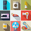 Collection Modern Flat Icons Household Appliances With Long Shadow Effect For Design. Vector Illustration