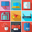 Collection Modern Flat Icons Media Technology With Long Shadow Effect For Design. Vector Illustration