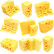 Collection Piece Of Cheese Isolated stock photography