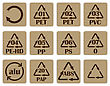 Collection Of Recycling Codes For Paper And Plastic Against White Background