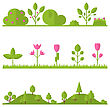 Collection Set Flat Icons Tree, Pine, Oak, Spruce, Fir, Garden Bush Isolated On White - Vector