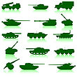 Collection Set Of Tanks Of Guns And Military Technology stock vector