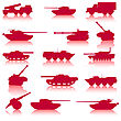 Collection Set Of Tanks Of Guns And Military Technology stock illustration