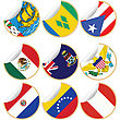 Collection Of Stickers/labels With Country Flags From North- Central And South America, Set 4