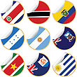 Collection Of Stickers/labels With Country Flags From North, Central And South America, Set 5