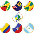 Collection Of Stickers/labels With Country Flags From North- Central And South America, Set 6