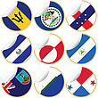 Collection Of Stickers/labels With Country Flags From North- Central And South America, Set 2