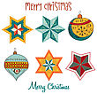 Collection Of Vintage Christmas Decorative Elements, Vector Illustration